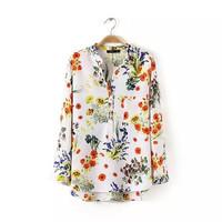 Summer Women's Fashion V-neck Irregular Print Pullover Shirt [5013349828]