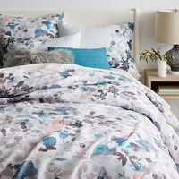 Belgian Linen Watercolor Garden Duvet Cover + Shams