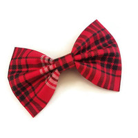 Red Plaid Bow • Christmas Bow • Winter Bow • Holiday Hair Bow • Stocking Stuffers • Christmas Gifts • Santa Gifts • Gifts under 5