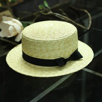 dropshipping Flat sun hats for women chapeau feminino straw hat panama style cappelli Side with bow Beach bucket cap girl topee
