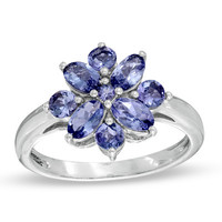 Tanzanite Flower Ring in Sterling Silver - View All Rings - Zales