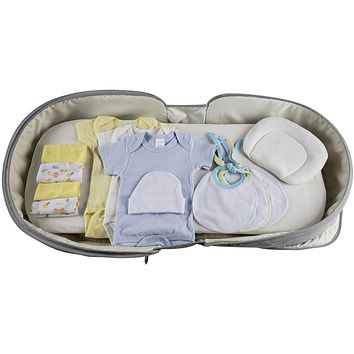 Boys 12 pc Baby Clothing Starter Set with Portable Changing Table/Diaper Bag