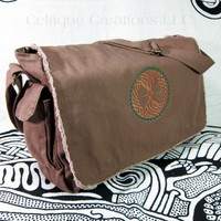 Celtic Tree of Life Messenger Bag Cotton Canvas Brown Green Embroidery