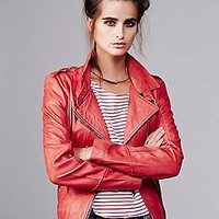 Red Moto Leather Jacket