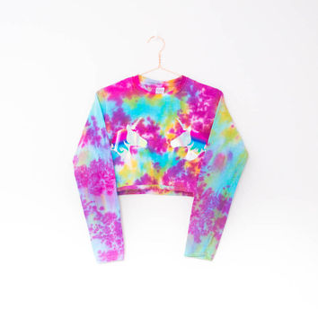 Tie Dye Crop Top Unicorn Holographic Long Sleeve Summer Festival Rave Plur Edm Hipster Tumblr 90s Grunge Hippie Blogger Ibiza S/M/L/XL