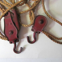 Vintage / Antique red Cast Iron Pulley Hoist Ratchet with Original Rope - Industrial Decor, Rustic Farmhouse