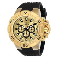 INVICTA I-Force Mens Day / Date Watch - Gold-Tone - Black Silicone Strap