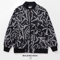 Balenciaga New fashion more letter print couple long sleeve jacket coat Black