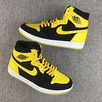 Air Jordan 1 Retro AJ1 Brue Lee New Fashion Women Men Runniing Basketball Shoes Yellow Black