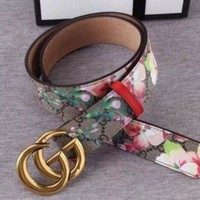GUCCI Men's belt fashion fashion print  PVC belt Smooth Buckle Belt Leather Belt