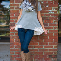 Lace To The Bottom Top, Gray