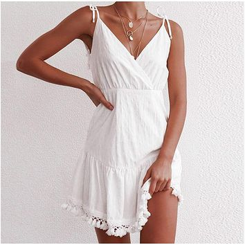 2020 New Women's Backless Tassel Strap Dress