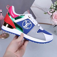 Alwayn Louis Vuitton LV Sneakers PU Print Contrast Shoes monogram tail blue green pink
