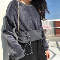 Buy Aesthetica Lace-Up Pullover | YesStyle