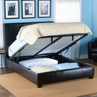 Leather-Upholstered Storage Bed