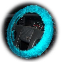 Teal Turquoise fuzzy faux fur car steering wheel cover