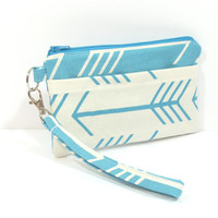 Teal and White Arrow Wristlet Clutch, Phone Clutch, Phone Wristlet, Wristlet Bag, Cell Phone Clutch, Arrow Clutch, Arrow Wristlet