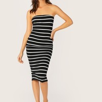 Split Back Striped Tube Dress