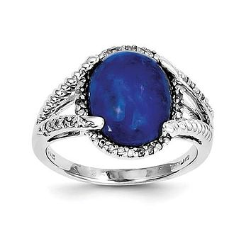 925 Sterling Silver Cabochon Lapis diamond Ring