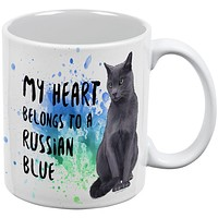 My Heart Belongs Russian Blue Cat White All Over Coffee Mug