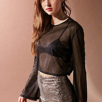 UO Sheer Sparkle Long Sleeve Top | Urban Outfitters