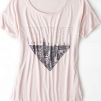 AEO 's Soft Studded Graphic T-shirt (Pink Lily)