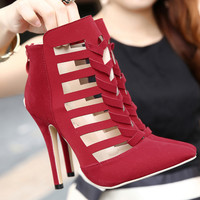 4 inches Cut out Pointed toe Stiletto Heels