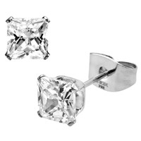 Inox Jewelry Women's 316L Stainless Steel Square Cubic Zirconia Stud Earrings | Body Candy Body Jewelry