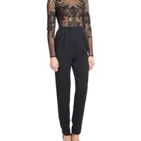 Zuhair Murad Embroidered Lace & Crepe Long-Sleeve Jumpsuit, Jet
