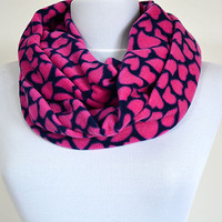 Valentines Day Gift Scarf,  Pink Heart  Pattern Fleece Scarf , Circle Scarf. Winter Scarf, Scarves, Fashion Accessories