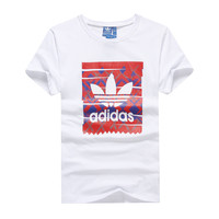 """Adidas"" Men Fashion Casual Clover Letter Pattern Print Round Neck Short Sleeve T-shirt Tops"
