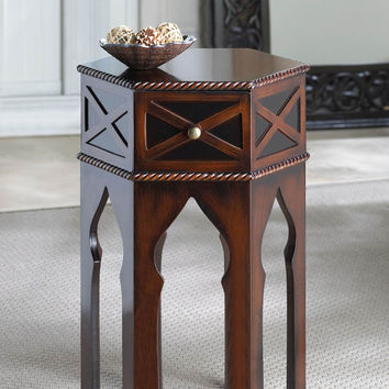 Exotic Moroccan Style Accent Side Table with Braided Trim
