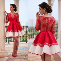 Long Sleeve Red Homecoming Dress, Red Lace Homecoming Dress Free Shipping