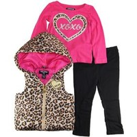 Baby Girls Infant Cheetah Vest with Long Sleeve Tee 3Pc Leggings Set