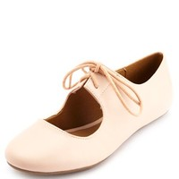 MARY JANE LACE-UP BALLET FLATS