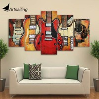 5 Piece canvas painting home decoration accessories guitar music decorative Print painting Wall Art Pictures For Living Room