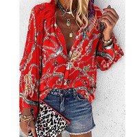 Printed stand collar long sleeve casual women's shirt