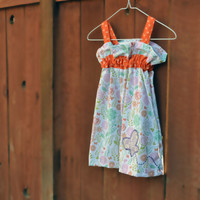 Girls dress size 3 toddler, summer dress, girl clothes, dresses, sundress, summer clothing in white with orange trim flowers and butterflies