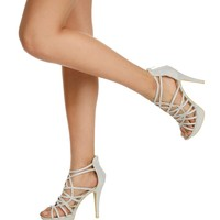 Silver Perfection Caged Heels