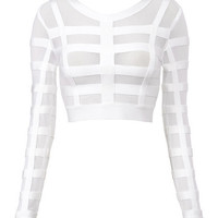 Luna Bandage and Sheer Mesh Cropped Top