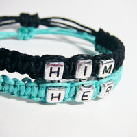 Him Her Couples Bracelets Adjustable Hemp Turqoise and Black