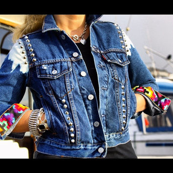 Studded Authentic Levi's Jean Jacket with Tribal Motif all sizes.