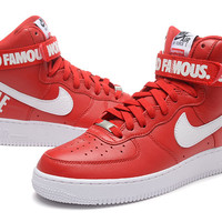 NIKE Women Men Running Sport Casual Shoes Sneakers Air force High tops 94 Red white hook