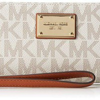 DCCKHI2 Michael Kors Beige Black Gold Continental Wallet