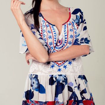 Floral boho dress with embroidered detail in blue