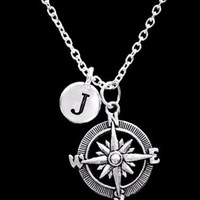 Choose Initial Letter Compass Direction Nautical Beach Long Distance Necklace