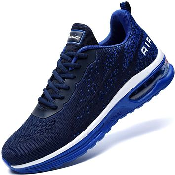 AUPERF Men's Fashionable Walking Sports Tennis Shoes Air Cushion Working Out Gym Running Sneakers Fashion Lightweight Breathable Workout Footwear(Navy Blue US 11.5 B(M)