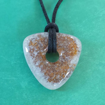 Brown and Cream Triangle Donut Necklace, Everyday Fused Glass Jewelry, Ready to Ship  - Wendi - 4731 -4
