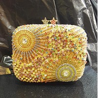 Gold Embellished Rhinestone Crystal Minaudiere Wedding Clutch
