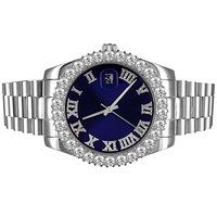 Mens 41mm Stainless Steel Blue Roman Dial Icy Bezel Watch